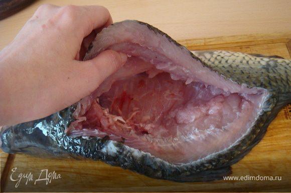 """Итак,приступим к разделке рыбки: рыбу я купила свежую-плавала при мне. Рыбку очистить от чешуи. Жабры вырезать-я использую ножницы. Разрезать рыбку по спине вдоль плавников-от головы до хвоста. Медленно продвинаясь ножом внутрь рыбки """"скользя по её ребрам до внутренностей. Повторить процедуру с другой стороны хребта. Т.е. мы вырезаем хребет со внутренностями из нашей тушки рыбы. Я пользовалась не только ножом,но и ножницами для удобства. Именно ими я разрезала хребет поперек у головы и хвоста и вырвала его с ребрами, удалила внутренности."""