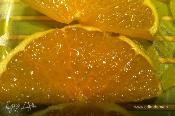 Апельсины помыть, очистить от кожуры. Нарезать дольками.Дальше все происходит динамично и снимать фото не было возможности. Но все очень просто:)