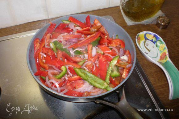 Перец нарезать полосками (освободив, естественно, от семян), лук полукольцами, помидоры мелко измельчить, предварительно сняв кожицу. Выложить в сковороду все овощи, посолить,поперчить по вкусу,добавить пару ложек оливкового масла и поставить тушиться на умеренный огонь(около 30-35 минут). Сковороду накрыть крышкой.