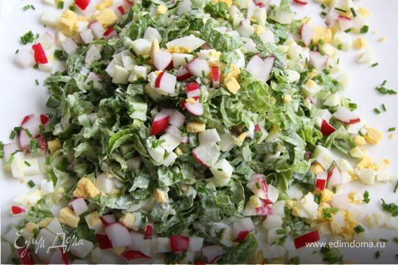5. Выложить на тарелку, сверху посыпать оставшимся редисом и яйцом, украсить любимой зеленью.
