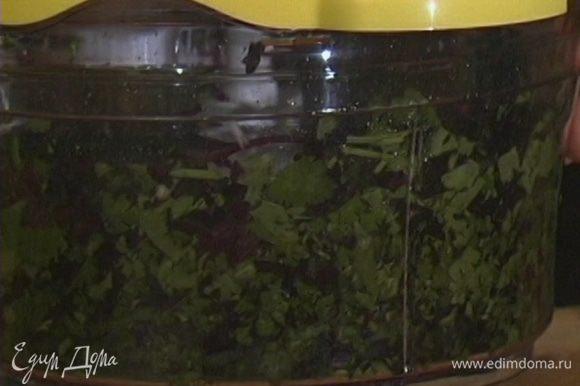 Зелень мелко порубить, а затем растереть со щепоткой соли, перцем и чесноком, постепенно добавляя оливковое масло.