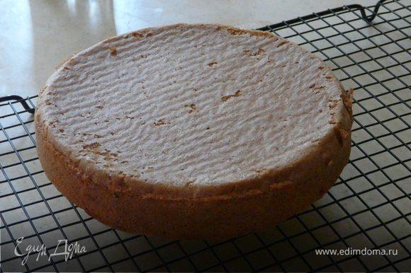 Тесто: просеять муку, добавить сахар, разрыхлитель. Отдельно смешать желтки, воду и масло. Соединить с мукой. Взбить белки до пиков и соединить.