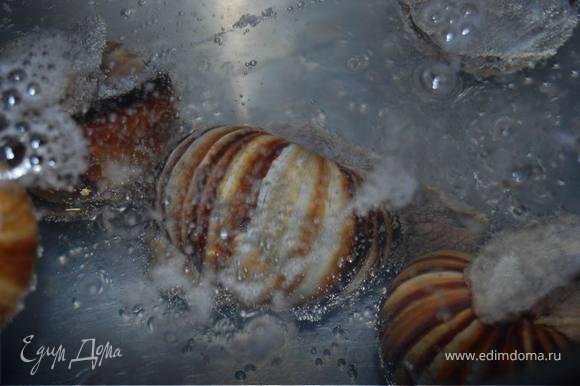 Опускаем бедняжек в кипящую воду с уксусом и солью и варим 15 минут.