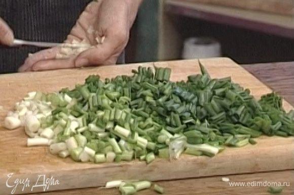 Зеленый лук и мяту измельчить.