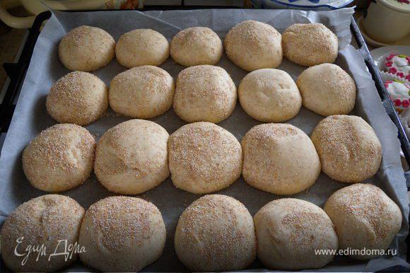 Булочки (вернее маленькие хлебушки). Я делала такое тесто: 11-13 г сухих дрожжей, 500 мл молока, 100 мл растительного масла, 2 ч л соли, 4 ст л сахара, 850 г пшеничной муки и 150 г пшеничной крупы. Стандартный замес. Разделина на 20 шариков (4Х5 - чтобы на противень). Обвалять в крупе.