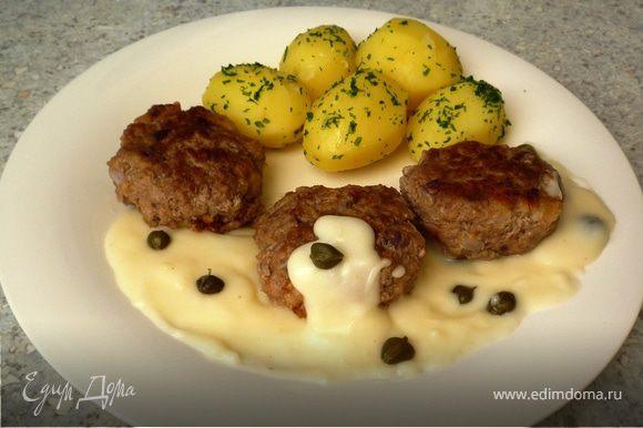 Отварной картофель перемешиваем с петрушкой. Выкладываем на тарелку биточки, картофель, поливаем соусом. Приятного аппетита!