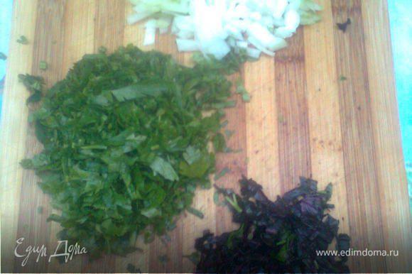 лук,петрушку,базилик мелко нарезать