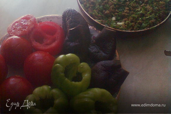 фарш обжарить с луком,добавьте зелень по вкусу,помидоры отрезать верхушки и почистить внутрь(не выбрасывайте),сладкий перец тоже очистить внутренности,баклажаны сделать по середине надрез по длине и положить в горячую воду прокипетить минут 5,вынуть раскатать по столу и выжить воду