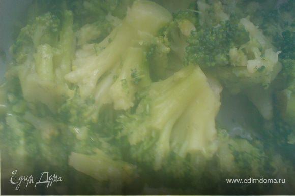 капусту брокколи отварить в течение 10 минут в подсоленной воде,остудить,нарезать крупно