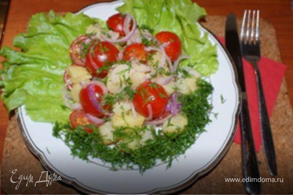 Выложить салат на тарелку и посыпать укропом. Тарелку предварительно можно украсить салатными листьями. Салат готов, можно подавать. Приятного аппетита.