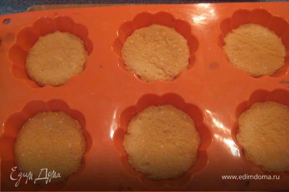 Разливаем тесто по силиконовым формочкам для маффинов,заполняя их до половины.Выпекаем при 180 градусах около 13-15 минут.