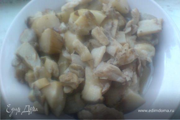 белые грибы промыть ,нарезать и отварить в подсоленной воде 10 минут