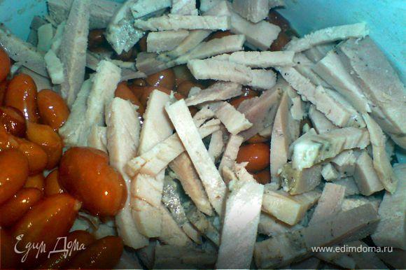добавить к фасоли и грибам