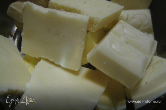 Шоколад со сливочным маслом растопить. Добавить наши обжаренные орешки и соединить вместе с мукой/яйцами/сахаром/клубникой.