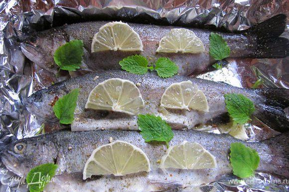 Свежую рыбку, у меня это радужная форель, почистить, выпотрошить, натереть смесью соли и приправы для рыбы. Отрезать кусок фольги, больше рыбы в 2 раза с хвостиком, выстелить ею противень, так, чтобы половина осталась лежать на столе. Лимон порезать полукольцами, уложить часть на противень, сверху лимона уложить рыбку. Внутрь рыбы тоже положить лимон и сверху тоже. Я добавила ещё листики мелисы. Накрыть рыбку второй половинкой фольги, защипить края и запечь в предварительно разогретой до 180 гр. духовке минут 30-35. 1