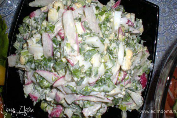 """Салат""""НАВРУЗ"""" Редис нарезать тонкими брусочками(по желанию почистить)Салат-латук,зелень и яйца нарезать.Все ингредиенты смешать в глубокой миске,посолить,поперчить,заправить сметаной и подавать."""