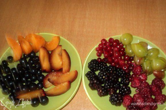 Ягоды и фрукты помыть, просушить, фрукты порезать ломтиками.