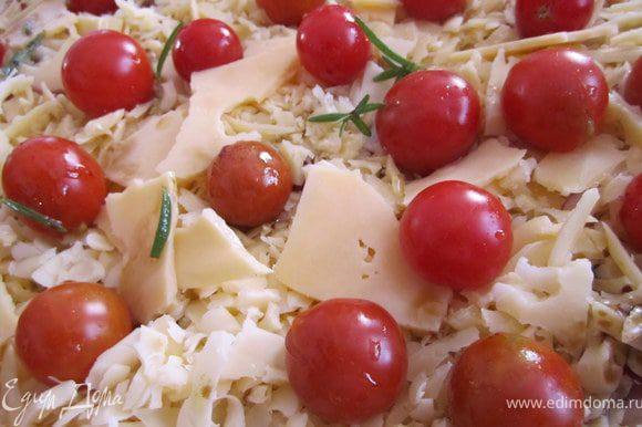 Выложить помидорки чери.