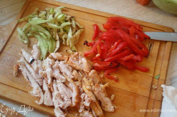 Перец очистить от кожицы, она должна легко отходить. Кабачок, перец и курицу нарежем тонкими полосками.