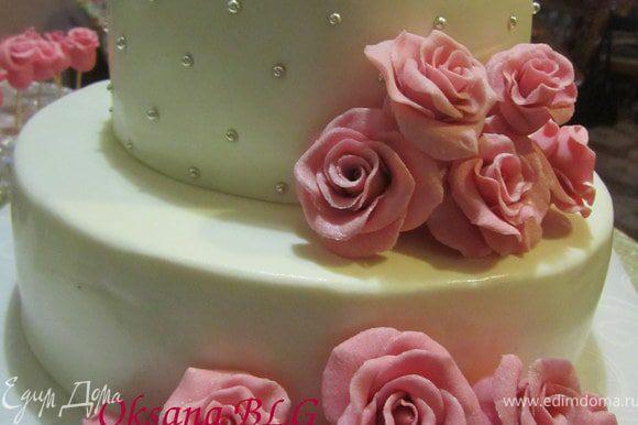 Примерить розы на торт.