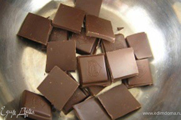 Шоколад растопить на водяной бане, поломав на кусочки;