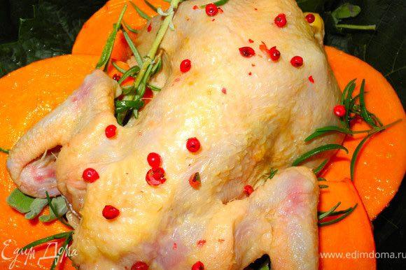 """Смазать тыкву смесью меда и масла, слегка посолить, положить в форму, накидать сверху шалфей и розмарин. Уложить на эту """"подушку"""" цыпленочка, посыпать розовым перцем. Выпекать при температуре 200 градусов 10 минут и потом еще 20-30 минут в зависимости от веса цыпленка."""