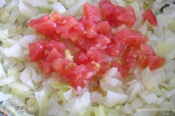 добавить нарезанные помидоры (без кожицы), тушить 3-4 минуты.