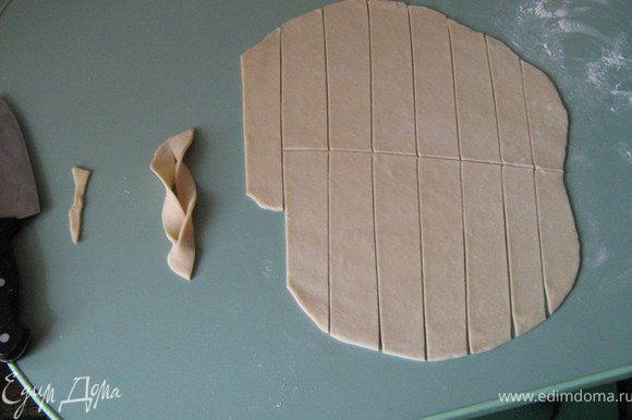 Вытащить тесто из холодильника. Еще несколько мин помесить. После - раскатать кавдрат, 0.2-0.3 мм, и вырезать прямоугольники ( как показано на картинке). Ножом посерединке прорезать небольшое отверстие, и, один край крепли завести до конца. Так сделать со всеми креплями.