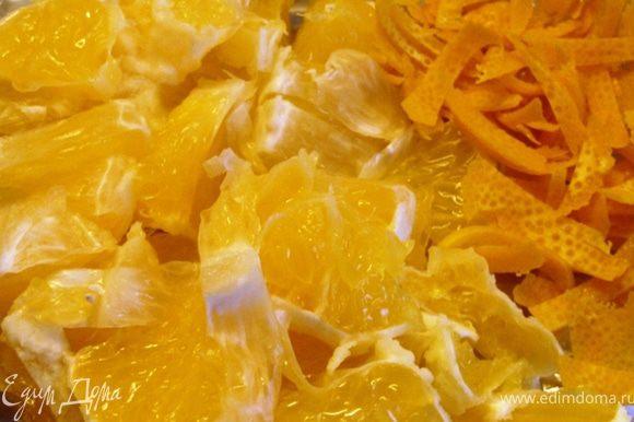 Порезать дольки апельсина на 4 части. Мелко по шинковать цедру.