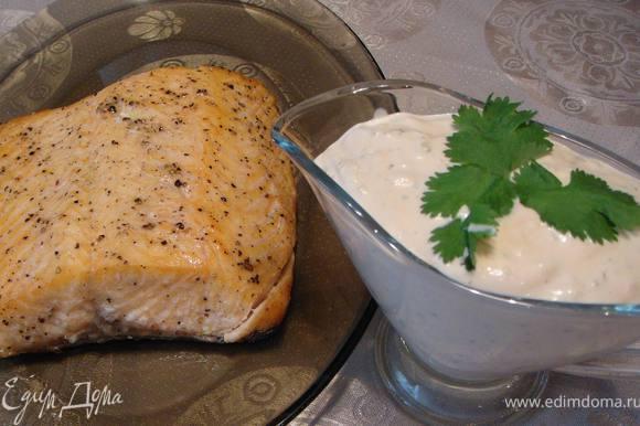 К рыбе я подаю соус, приготовленный по рецепту Valentina 78 http://www.edimdoma.ru/recipes/19041. Спасибо за соус, Валя, он отлично подходит к рыбке.