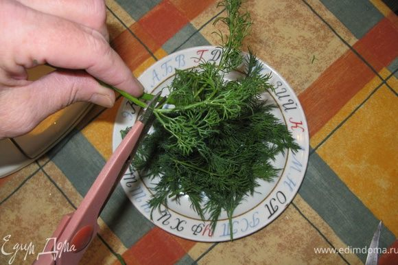 Укроп тщательно моется сначала в миске, затем в проточной воде. В дело идут только тонкие листья укропа, их надо срезать со стеблей ножницами. Стебли потом пригодятся. Укроп мелко режется, а ещё лучше - разбивается в блендере вместе с чесноком.