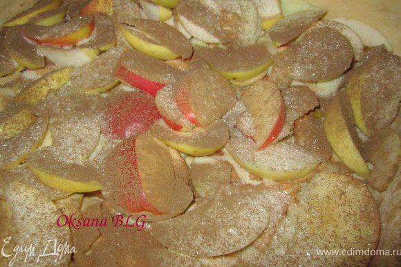 Яблоки посыпать сахаром и корицей.