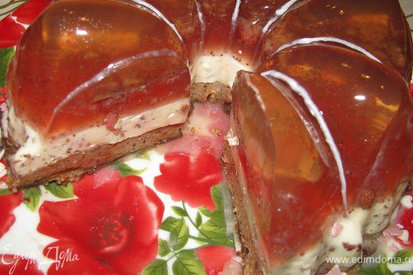 Готовый десерт достать из холодильника, окунуть форму в горячую воду на 15-20 секунд и аккуратно перевернуть на блюдо. Все - десерт готов. Можно наслаждаться!