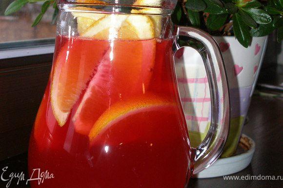 Дольки апельсина добавить в пунш. Можно использовать также лимон.