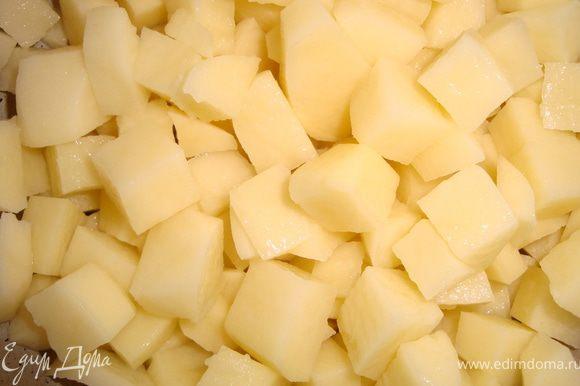 Грибной бульон вернуть на плиту, дать закипеть. Пока бульон закипает, режем картошку.