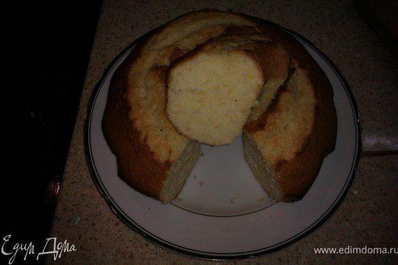 Разогреть духовку до 175-180 градусов. Смазать маслом форму и вылить тесто. печь примерно 30 минут. Приятного чаепития!!!
