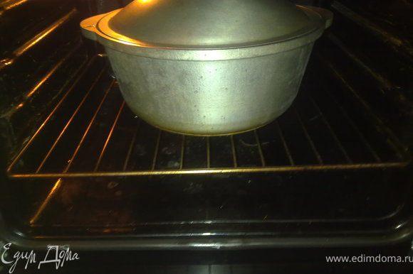 Жаровню поставить в духовку разогретую до 220 - 250 градусов, затем уменьшить до температуры тушения. Тушить час полтора с закрытой крышкой.