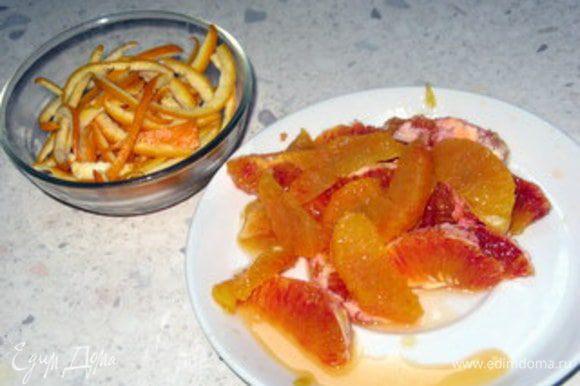 Нарезать на тонкие полоски цедру оставшихся двух апельсинов. У всех четырёх апельсинов вырезать дольки (мякоть) без плёнок и прожилок.