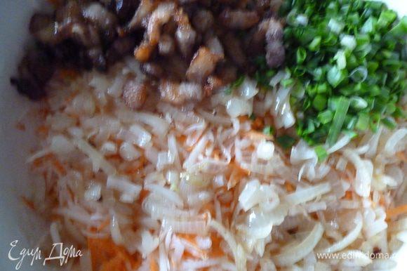 Теперь к редьке с морковкой добавим обжаренный бекон,лук вместе с маслом,зеленый лук ,если надо досолим и перемешиваем.Даем салату минут 10 настояться и можно подавать.Приятного вам аппетита:)