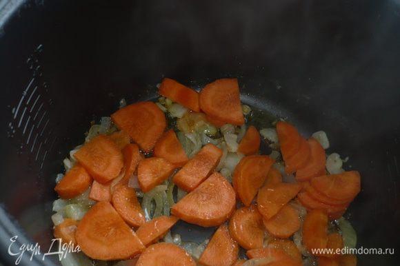добавить нарезанный лук и минут через 5 морковь - все обжаривать минут 15
