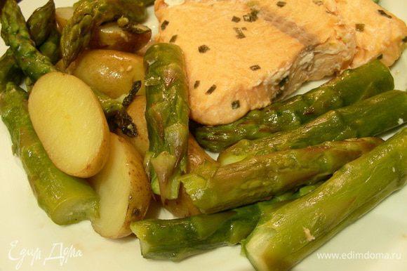 Перекладываем овощи на тарелку и подаем, украсив листиками мяты и лимонной цедрой. Приятного аппетита))