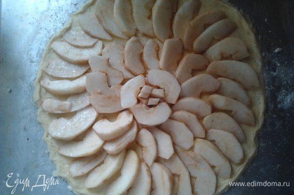 Яблоки раскладываем по кругу на тесто, посыпаем сахаром и поливаем растопленые сливочным маслом. (Можно полить еще вишневым сиропом, я его не добовляю дети не любят)
