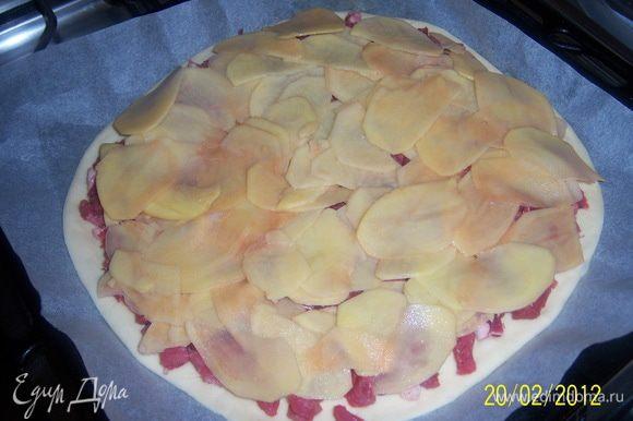 ...выложить картофель тонким слоем
