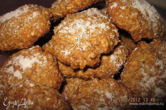 Я была приятно удивлена,какие они вкусные получаются (овсянка то всем не нравится)))!!!! Посыпать сахарной пудрой!