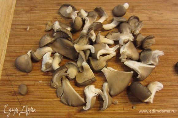 Почистите грибы от грязи, разорвите их на довольно крупные куски, т.е. только большие грибы.