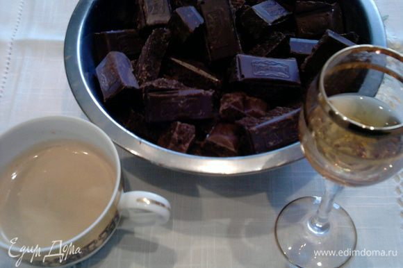 Надо взять 4 миски для приготовления четырех частей. Часть 1: Разломать шоколад, залить горячий кофе и добавить коньяк