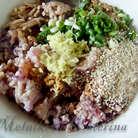 Добавить к фаршу тертый на мелкой терке имбирь, поджаренные семечки кунжута, мелко рубленый зеленый лук, яйцо, соевый соус, соль, перец. Тщательно все перемешать, желательно рукой.