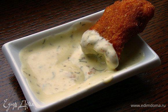 """Смешать все ингредиенты для соуса до однородной массы. Макать """"пальчики"""" в соус и наслаждаться!"""