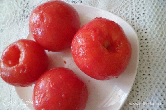4 очищенных томата пропустить через блендер.