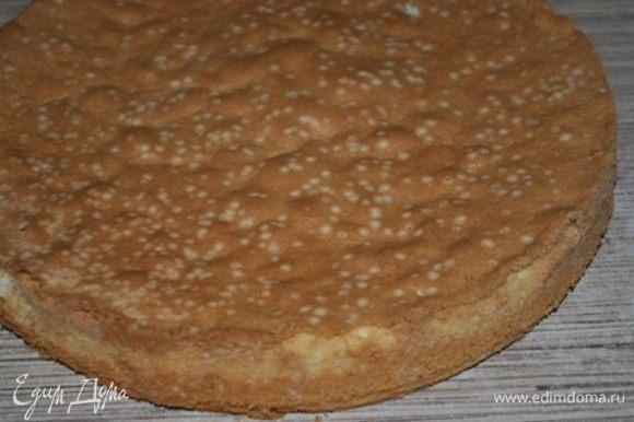Духовку нагреть до 180 гр. Яйца, воду и сахар взбить , пока масса не увеличится втрое. Муку, крахмал и разрыхлитель просеять, смешать с яйцами. Выложить тесто в форму 26 см., выпекать 30-35 минут. Остудить.